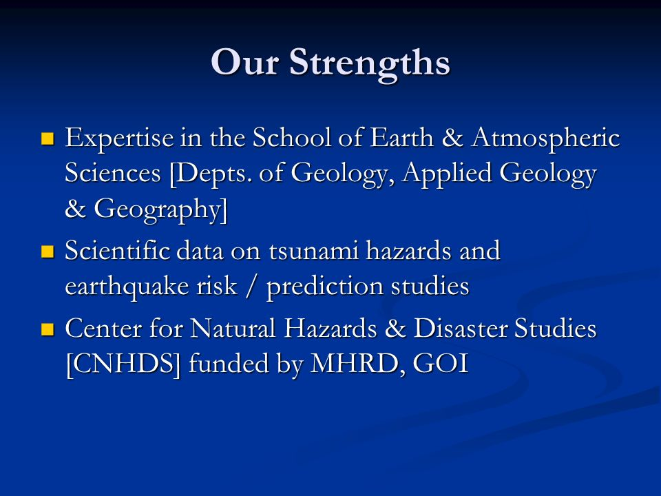 Our Strengths Expertise in the School of Earth & Atmospheric Sciences [Depts. of Geology, Applied Geology & Geography]